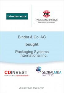 Binder Packaging Systems Unternehmenskauf